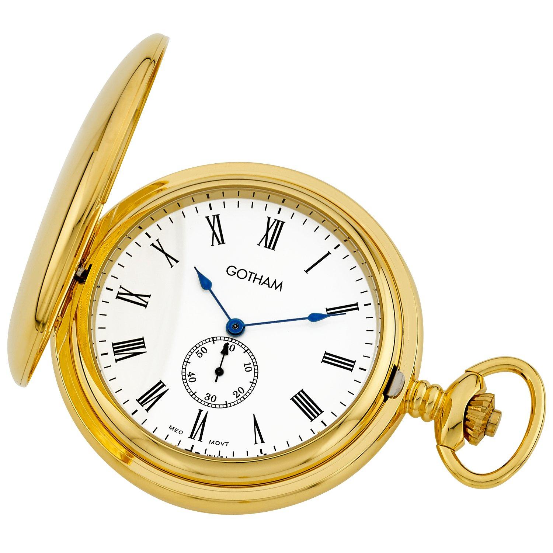 Gotham Men's Gold-Tone Double Hunter Deluxe 17 Jewel Mechanical Pocket Watch # GWC18805GR