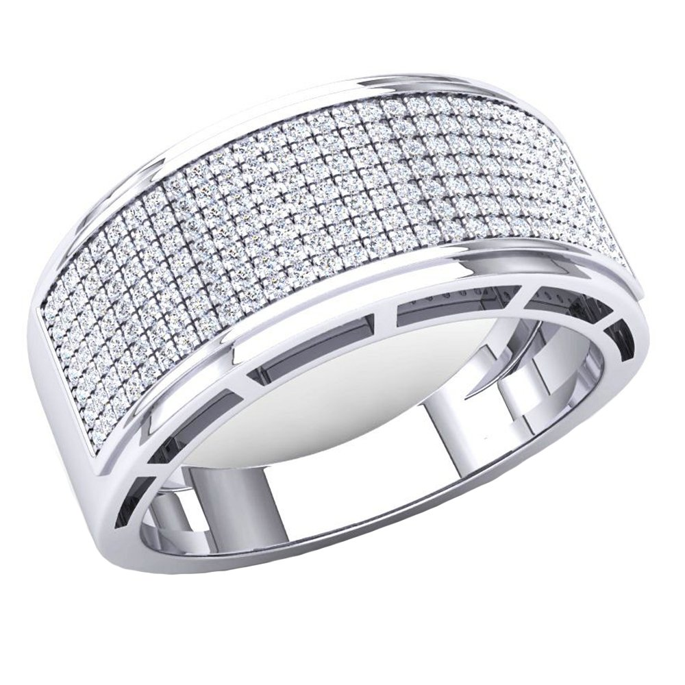 DazzlingRock Collection 0.55 Carat (Ctw) 10K White Gold Round White Diamond Men's Hip Hop Wedding Band 1/2 CT (Size 10)