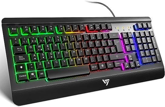 Todo para el streamer: VicTsing Teclado Gaming Español USB, LED Rainbow Retroiluminación con 12 Teclas Multimedia y 19 Teclas Anti-ghosting, Teclado Retroiluminado de Panel Completamente Metálico
