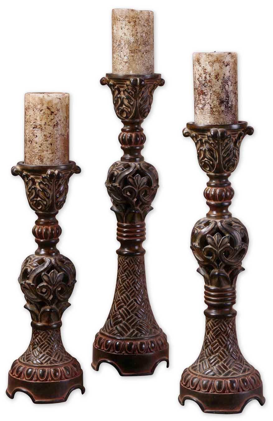 Uttermost 22'' Inch Rosina Candlesticks Set/3 Walnut Brown w/Light Tan Glaze Candles