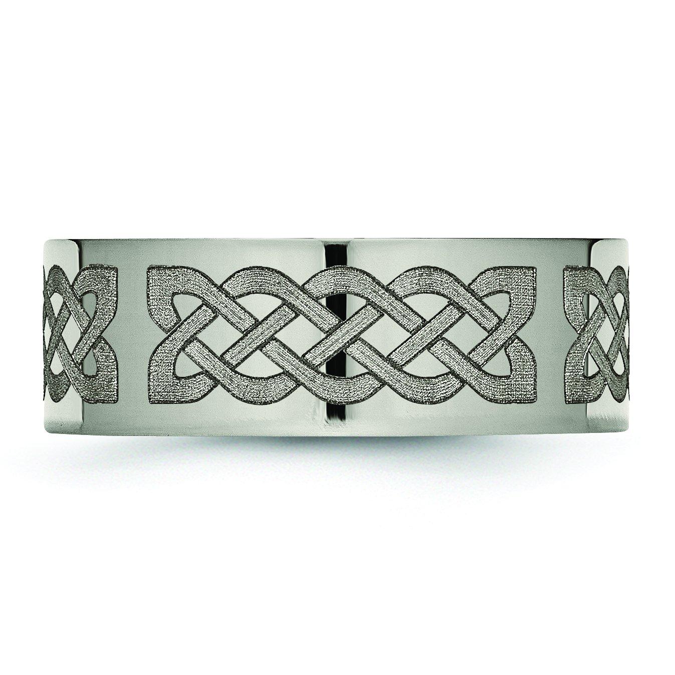 Jewelry Pot Titanium Flat 8mm Engravable Polished Band