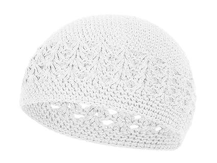 Amazoncom White Crochet Beanie Skull Cap Hat Sports Outdoors
