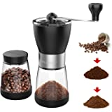Manual Coffee Grinder, Hand coffee grinder mill with Ceramic Burrs, Two Clear Glass Jars 5.5 oz Each, Stainless Steel…