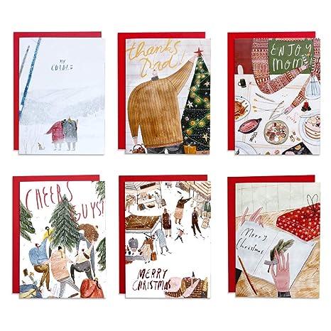 Christmas Card Drawing.Amazon Com O11e Word Christmas Card Set 6 Cards Art