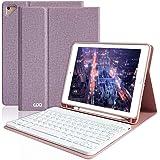 iPad 9.7 キーボード ケース Apple pencil 収納 ペンシルホルダー付き ワイヤレス Bluetooth キーボード 脱着式 手帳型 オートスリープ機能 多角度調整 日本語説明書付着 対応iPad 9.7インチ(第5/第6世代)/iPad Air2/iPad Air/iPad Pro 9.7 (パープル)