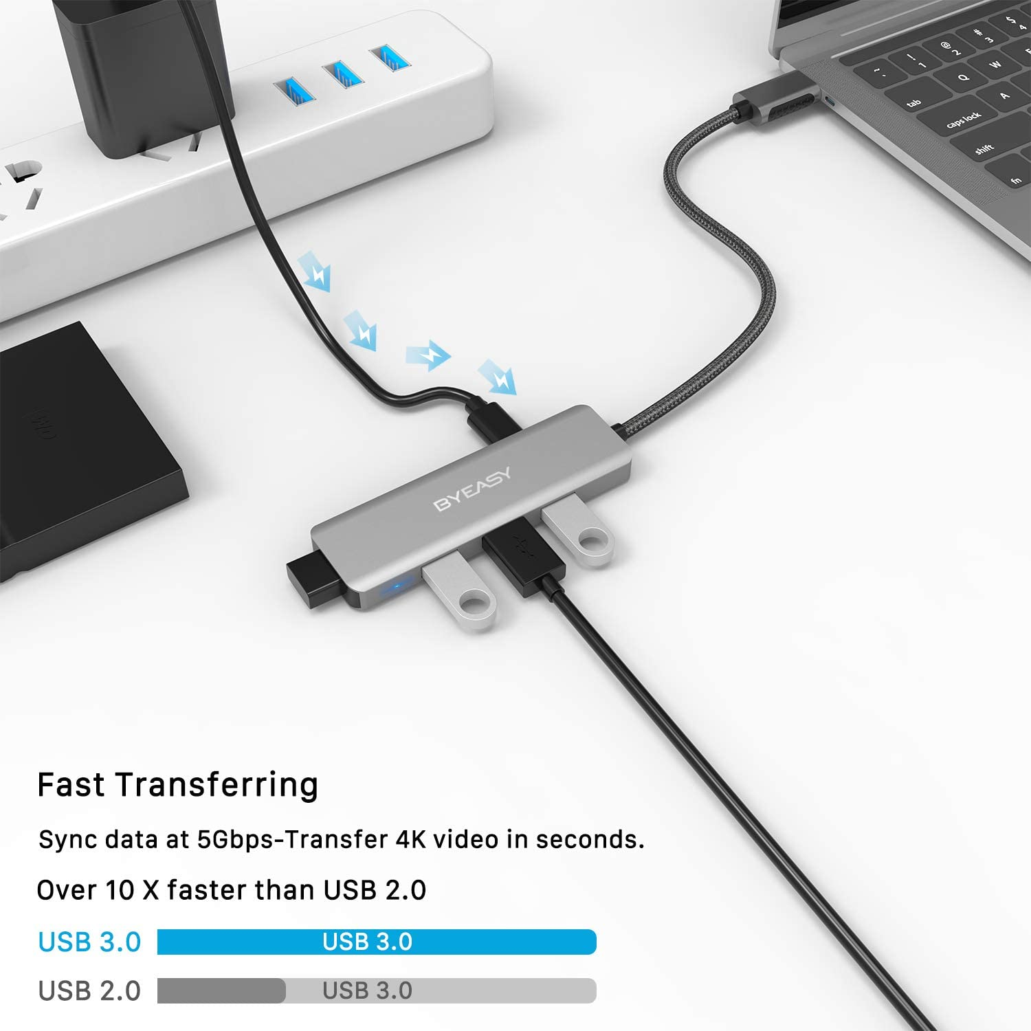 LEANO 7 Ports LED USB Adapter Hub Power on//Off Switch for PC Laptop Hubs