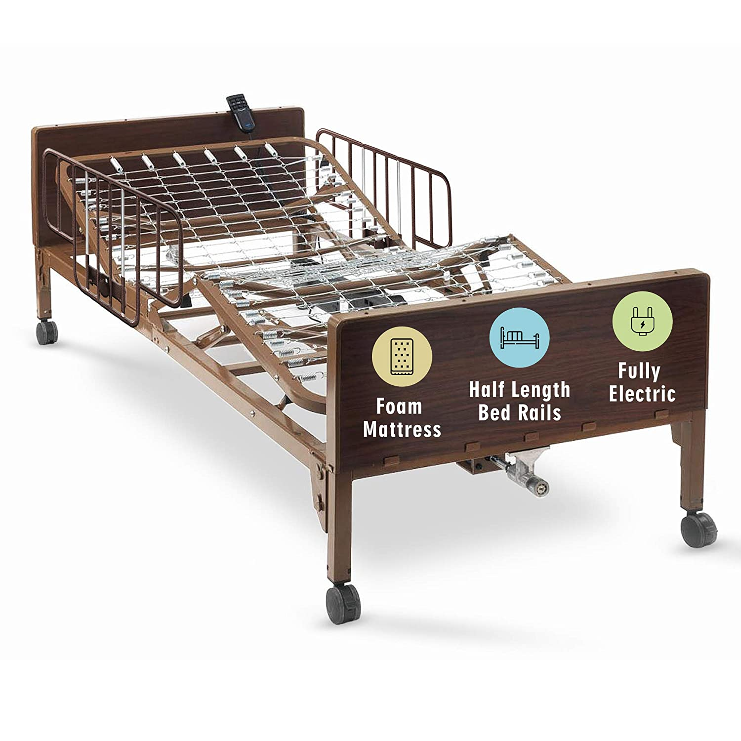 Full Electric Hospital Bed with Premium Foam Mattress and Half Rails Included - for Home Care Use and Medical Facilities - Fully Adjustable, Easy Transport Casters, Remote - 80