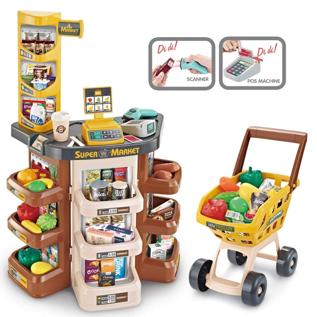 Vehpro Children's Supermarket Grocery Store Toy Set, with Scanner-Green and Shopping Trolley of Vegetables Fruits Food Cart Accessories, Toy for Kids 1 2 3-5 Years Old