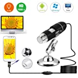 USB Microscope,1000x Magnification Endoscope, 8 LED USB 2.0 Digital Microscope, Mini Camera with OTG Adapter and Metal Stand, Compatible with Mac Window 7 8 10 Android Linux (Black) (Color: Black)