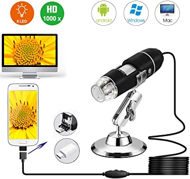 Mini Camera with OTG Adapter and Metal Stand Compatible with Mac Window 7 8 10 Android Linux 8 LED USB 2.0 Digital Microscope Schine 40 to 1000x Magnification Endoscope