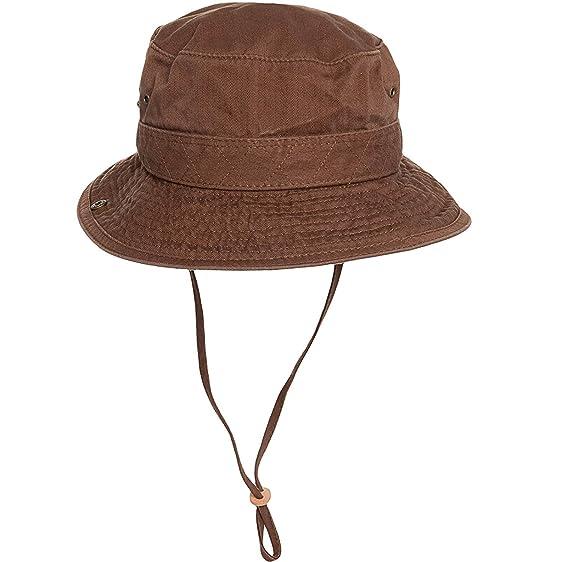 Dorfman Pacific Mens Twill Outdoor Bucket Hat Chocolate Khaki Medium