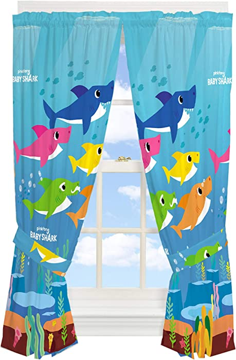 "Franco Kids Room Window Curtain Panels with Tie Backs Drapes Set, 82"" x 63"", Baby Shark"