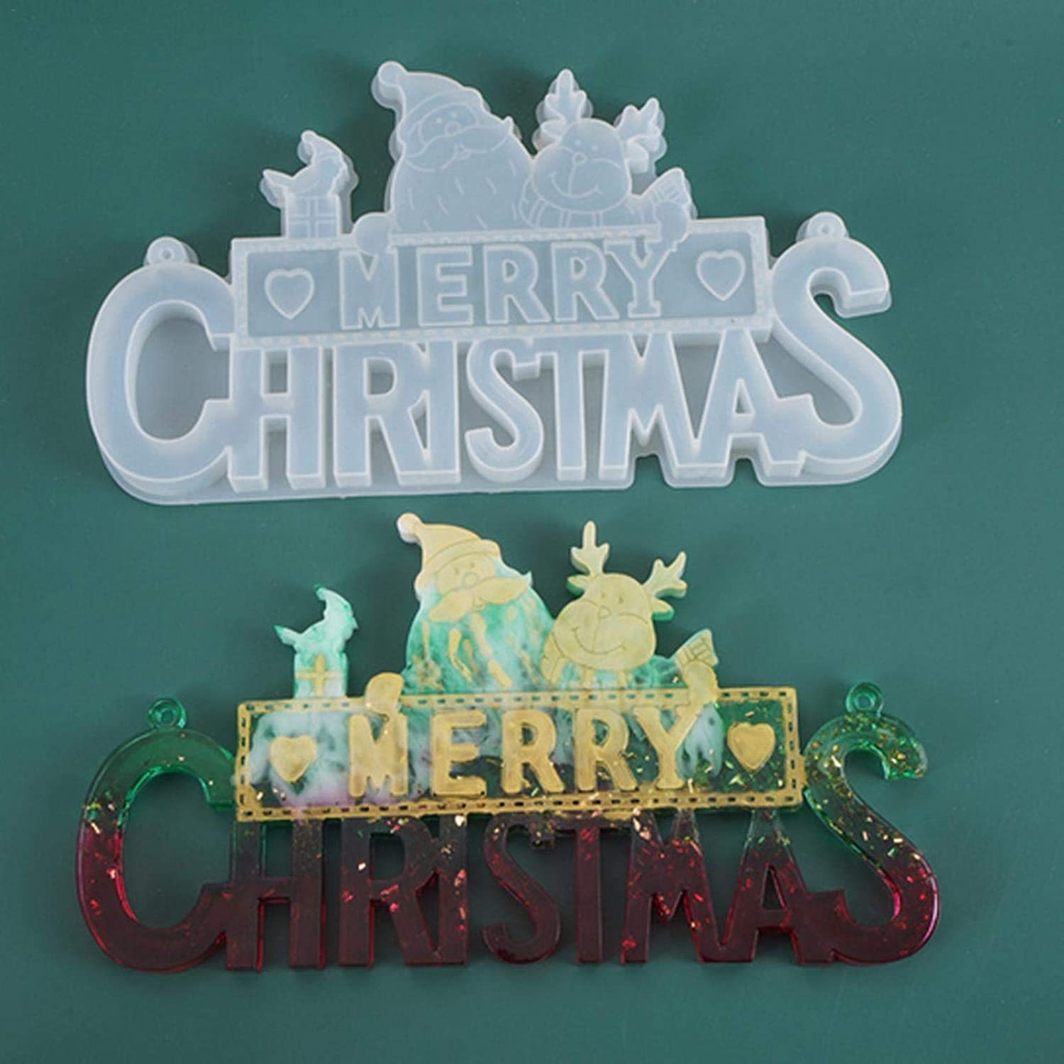 Merry Christmas Resin Mold We Wish You A Merry Christmas Silicone Mould Letter Jewelry Casting Resin Epoxy Mold for DIY Making Christmas Tree Ornament Craft Decor Candy Soap Candle