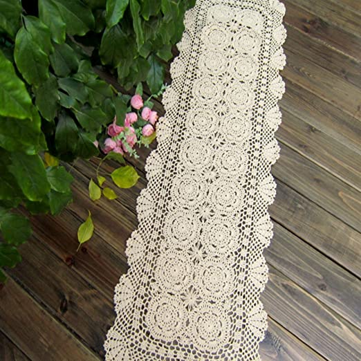 yguii rústico camino de mesa Floral Mano Ganchillo mesa servilleta ...