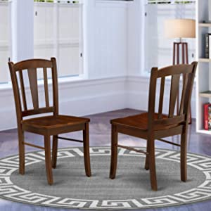 East West Furniture DLC-MAH-W Dining Chairs, Regular
