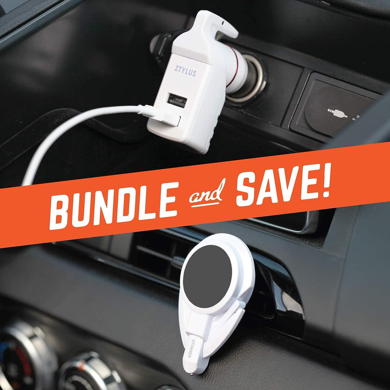 Dual USB Ports 3.1A Max Output Ztylus Stinger Plus Car Vehicle Emergency Escape Tool : Life-Saving Spring Loaded Window Breaker 2X Black Stinger Plus Seat Belt Cutter
