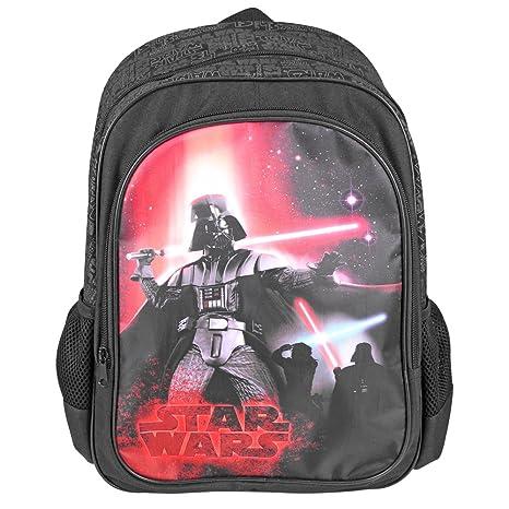 Mochila para niño Star Wars - Bolso Escolar con Bolsillo Frontal con Estampado de Darth Vader
