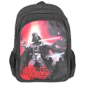 Mochila para niño Star Wars - Bolso Escolar con Bolsillo Frontal con Estampado de Darth Vader - Bolsa ...