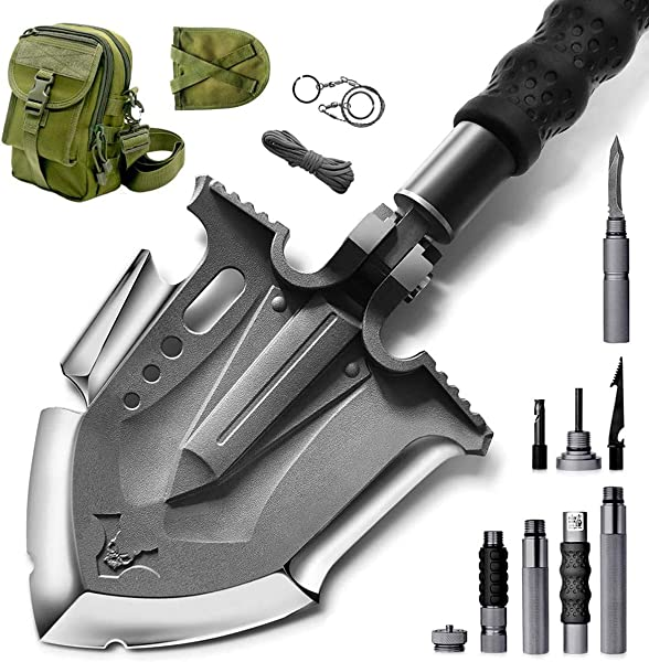 Zune Lotoo Survival Camping Shovel Folding Tactical Gear Military with Patented 6 Shifted Key and Casting Technology,24 in 1 Multifunctional Outdoor Folding