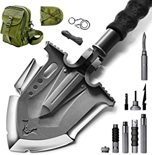 Zune Lotoo Survival Camping Shovel Folding Tactical Gear Military with Patented 6 Shifted Key and Casting Technology,23 in 1 Multifunctional Outdoor Folding for Off-Roading,Camping and Hiking,F-A3