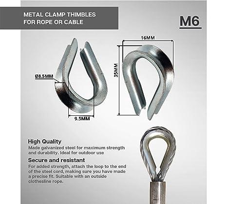 DOJA Industrial | Guardacabos de Acero M6 | PACK 20 | Dedales para Cuerda o Cable Metalicos | Acero Galvanizado | Tamaño 6mm | Uso: Abrazaderas para ...