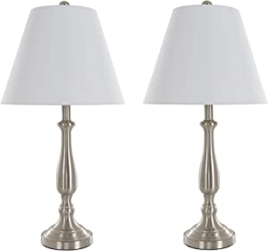 Table Lamps Set of 2, Traditional Brushed Steel (2 LED Bulbs included) by Lavish Home