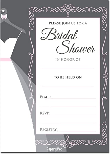 papery pop bridal shower invitations with envelopes 15 count wedding shower invitations