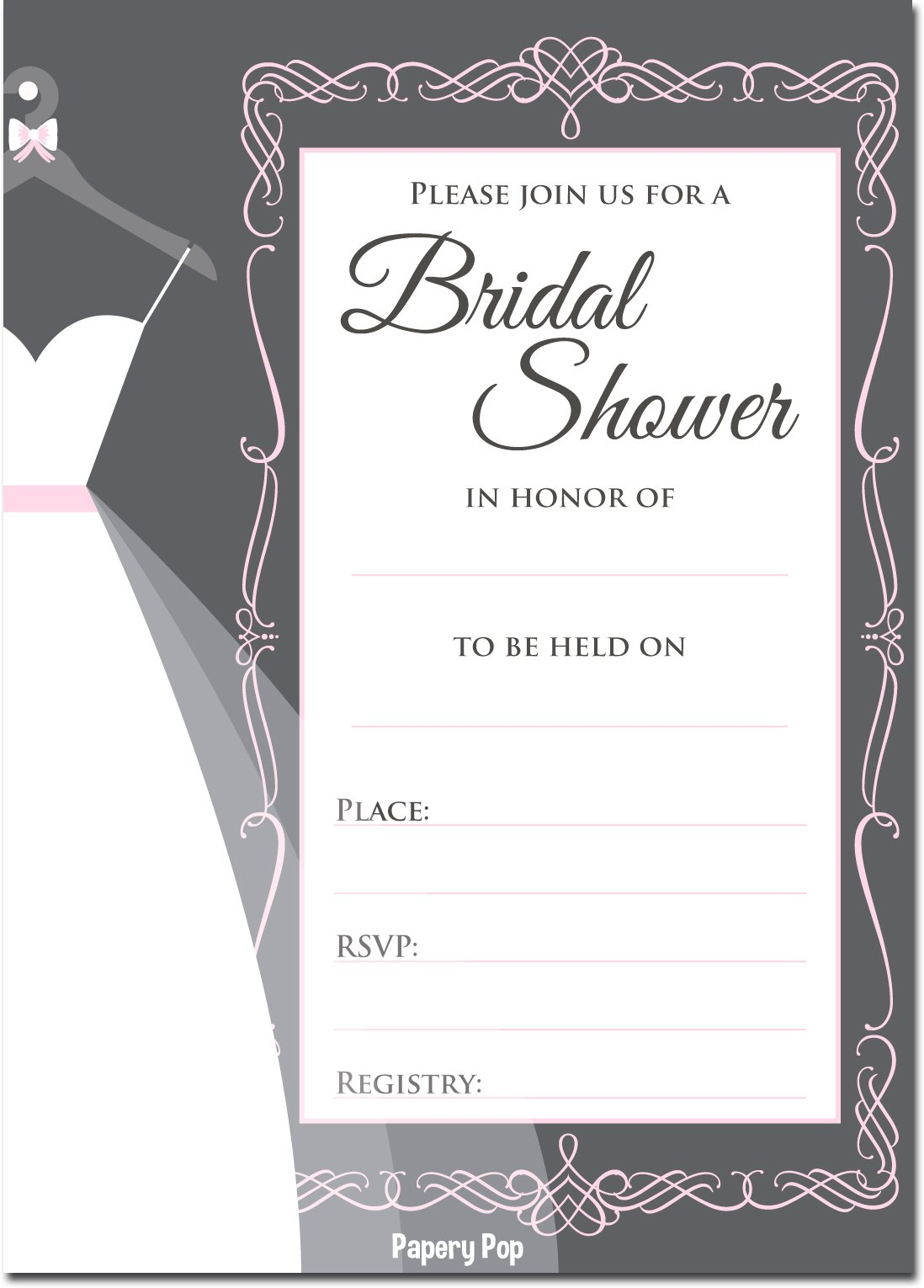 Amazon.com: 30 Bridal Shower Invitations with Envelopes - Wedding ...