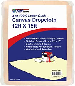 TCP Global 12' x15' Extra Large Heavyweight Canvas Drop Cloth - 8 oz 100% Cotton Duck