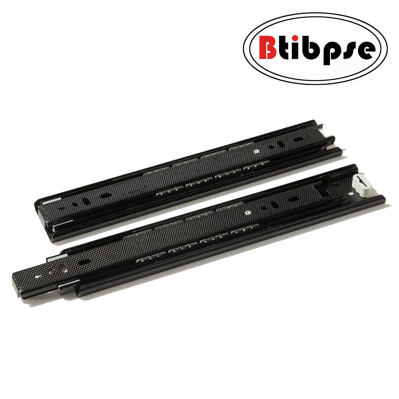 Btibpse Drawer Slide 10 Inch Ball Bearing Full Extension Slide Rail Black Pair