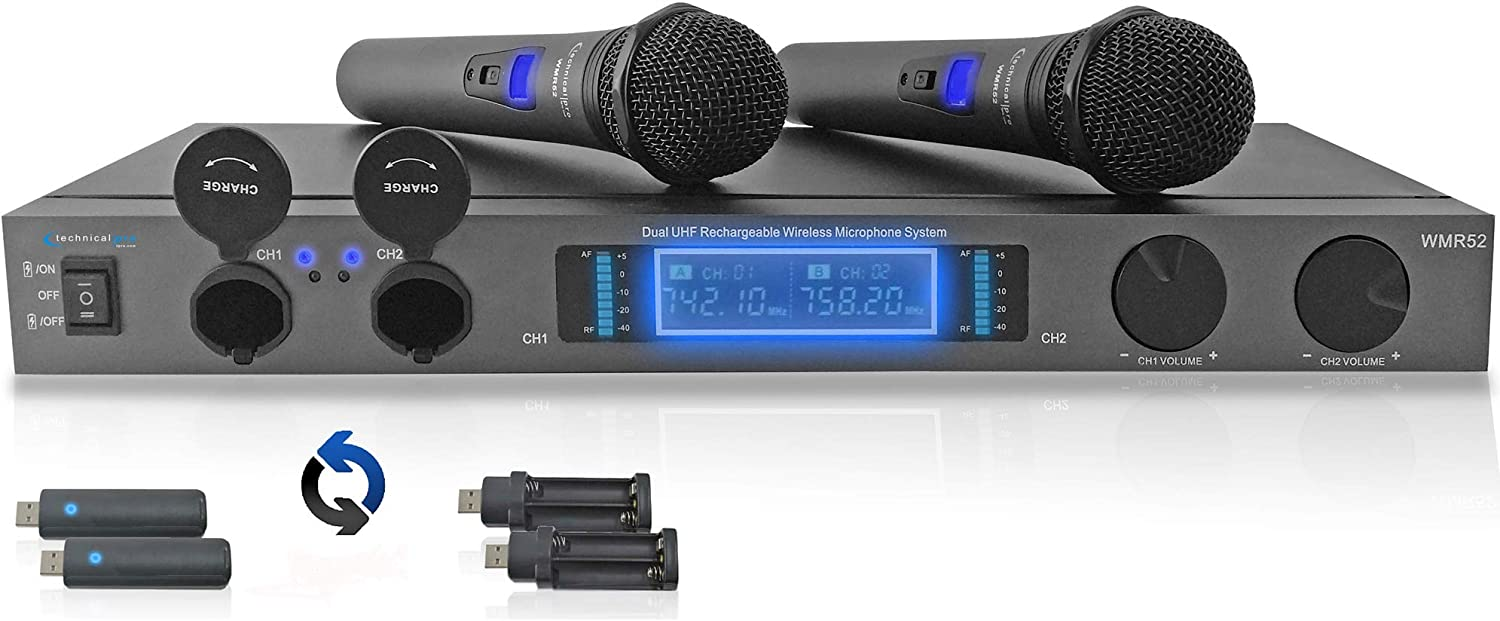 Technical Pro Professional Dual UHF Rechargeable Wireless Microphone System with Two Cordless Handheld Microphones, for Home Karaoke, Meeting, Party, Church, DJ, & Wedding