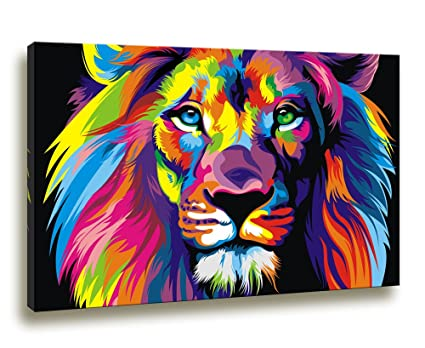 Moyedecor art cancas wall art paintings colorful lion art pictures prints on canvas decoration home