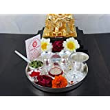 Goldgiftideas 7Ps Plus (7 Inch) Silver Plated Pooja Thali Set With Free German Silver Coin, Classic Occasional Gift, Pooja Thali Decorative
