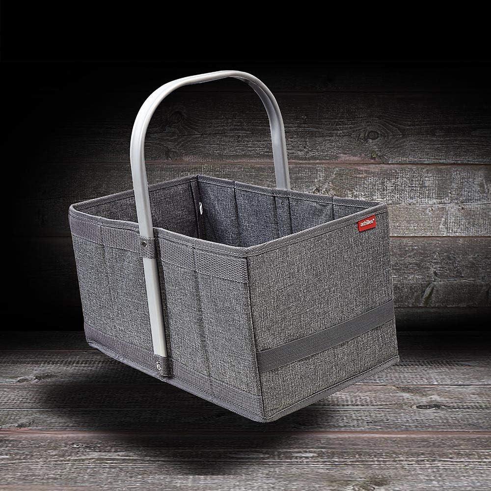 achilles Handle-Box Panier de courses avec syst/ème de pliage intelligent Panier pliable avec poign/ée en aluminium M/élange Gris 40 x 24 x 20 cm
