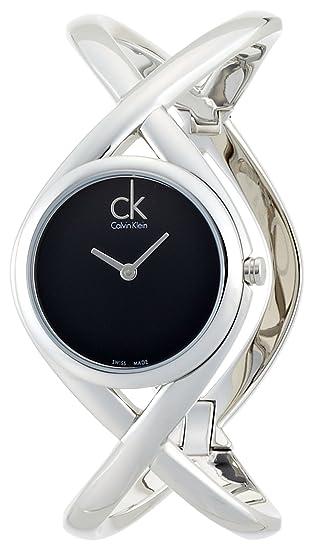 Calvin Klein K2L24102 - Reloj analógico de mujer de cuarzo con correa de acero inoxidable plateada