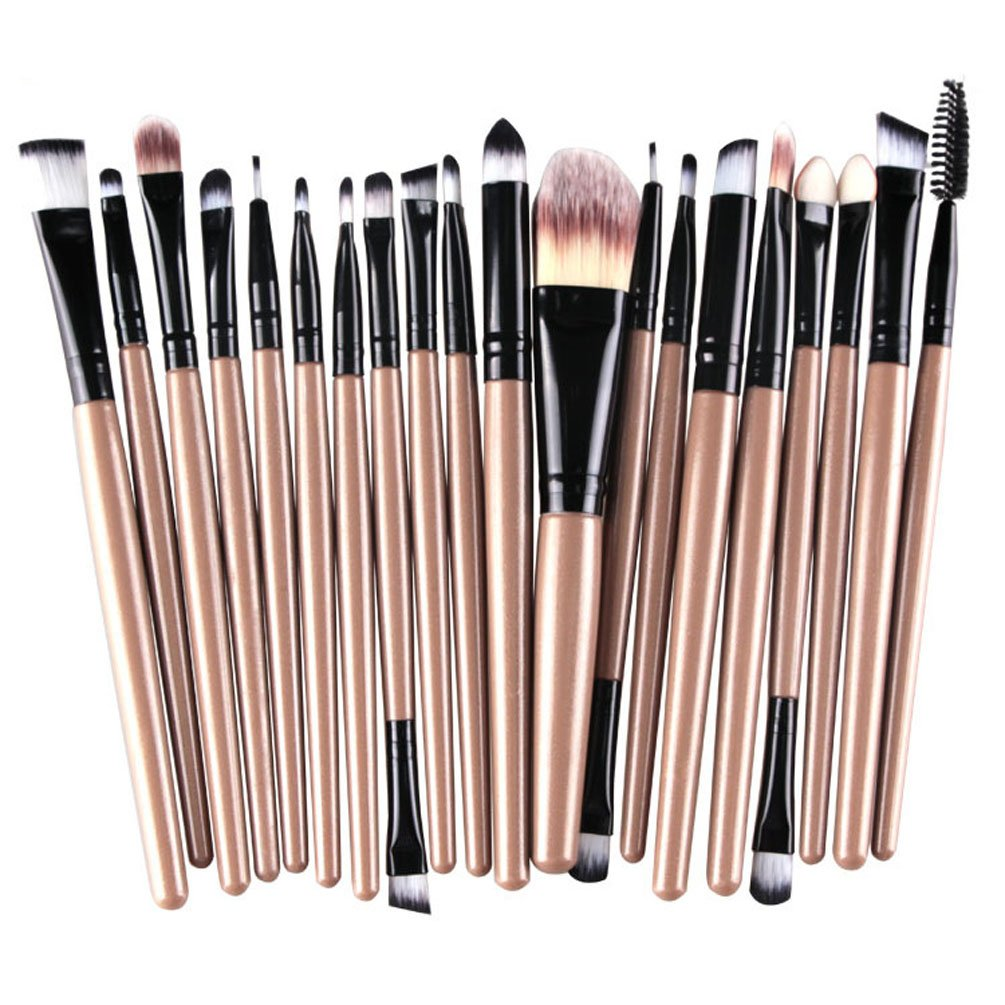 KOLIGHT 20 Pcs Pro Makeup Set Powder Foundation Eyeshadow Eyeliner Lip Cosmetic Brushes (Black+Gold)