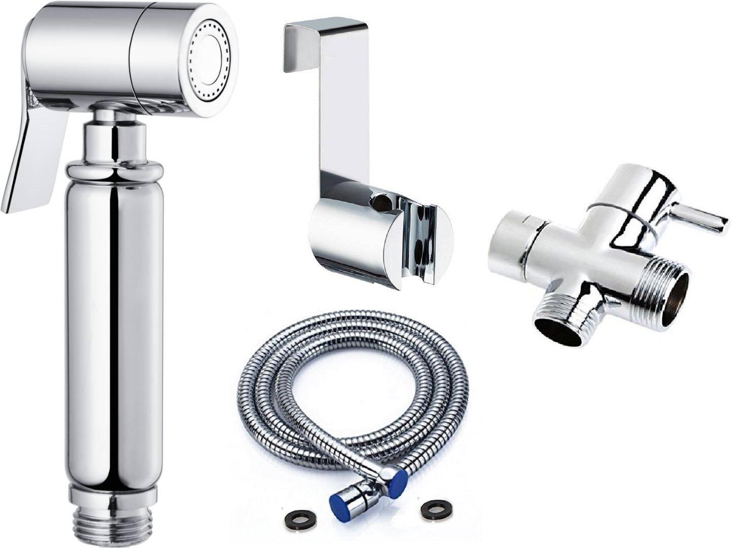 BbfStyle - Elegancia, Diseño y Calidad - Set de Ducha de Bidés Toilet con válvula de 3 vías - Para higiene íntima - Acabado cromado - Tahret Taharat.