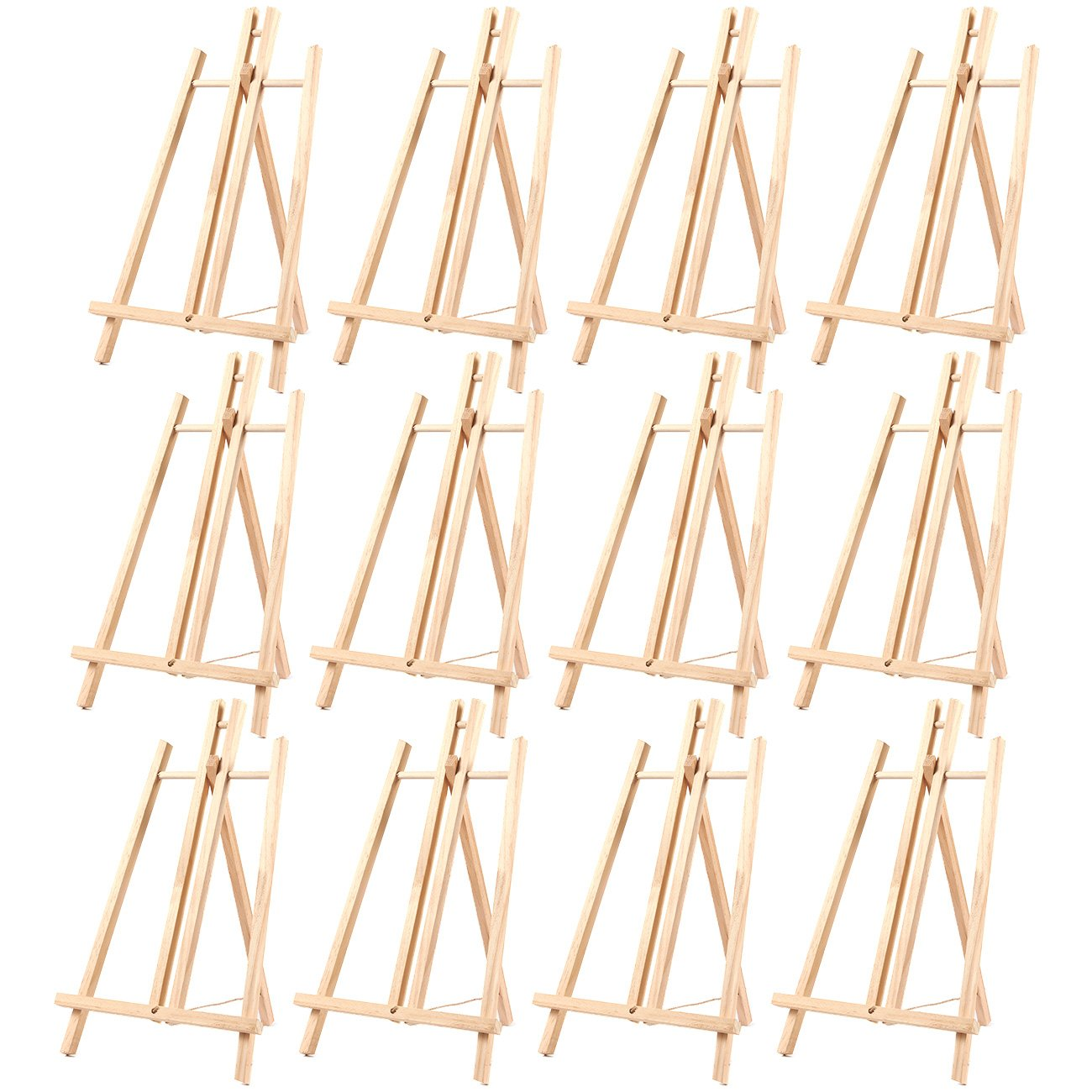 12-Pack of Tabletop Easels - Wood Easel, Mini Easels for Tabletop Painting, Standing Easel, Brown - 9 x 14.8 Inches by Juvale