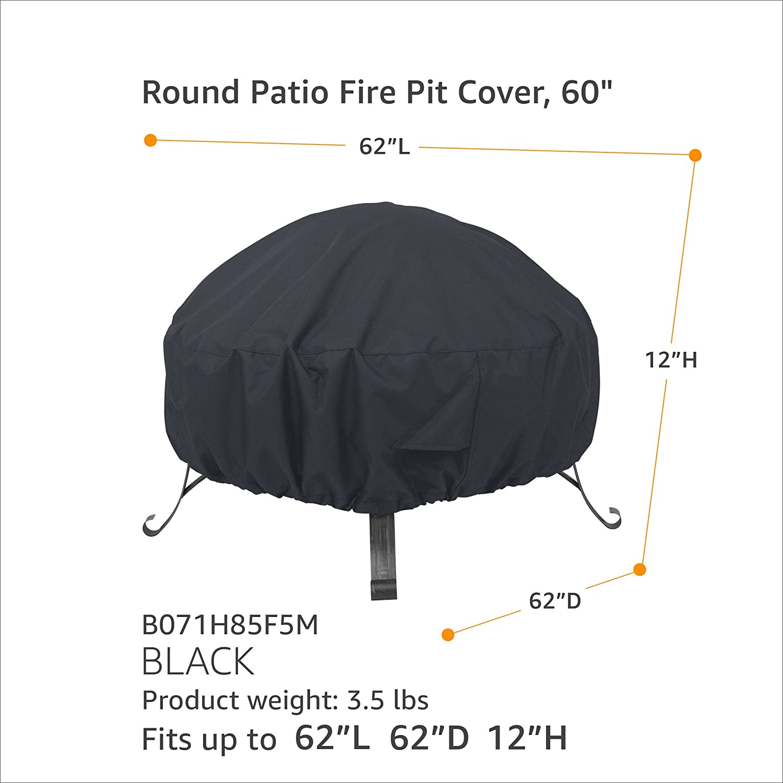 Basics Round Patio Fire Pit Cover 1.11 m Black