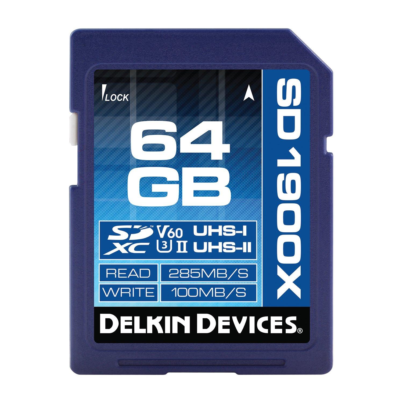 Delkin 64GB SDXC 1900X UHS-I/UHS-II (U3/V60) Memory Card (DDSD190064GV)