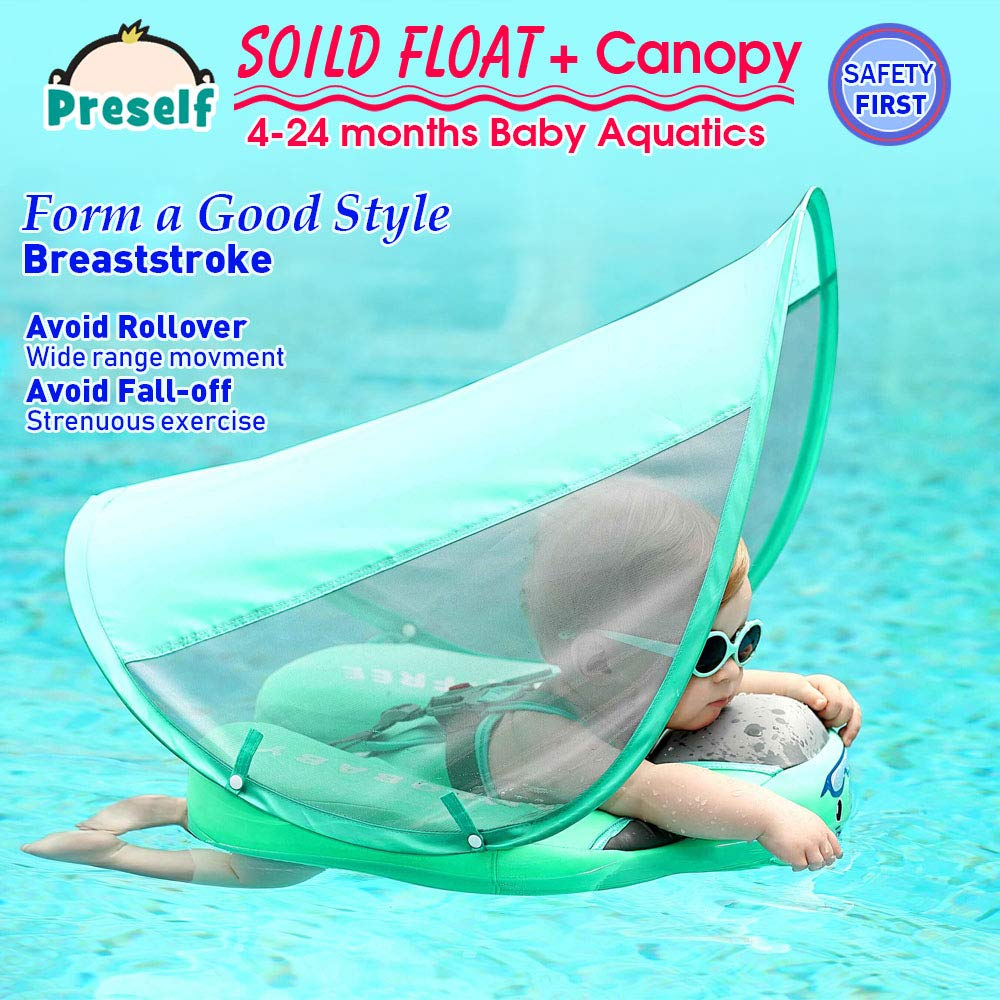 PRESELF Baby Solid Float with Canopy Safety Aquatics Floating Ring Fit Infant Toddler Swimming Pool Swim School Training (Green) by PRESELF (Image #4)