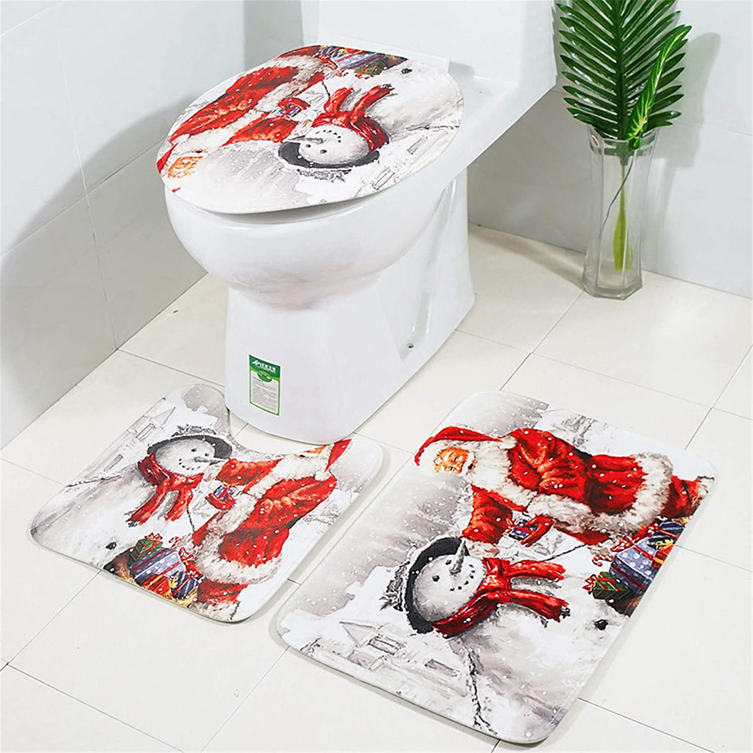 Rockia Santa Christmas Toilet Bathroom Mat Shower Curtain Lid Cover U Shaped Pad Xmas Non-Slip Floor Brushed Rugs Carpet Four-Piece Set Bath Curtain Separate Sale