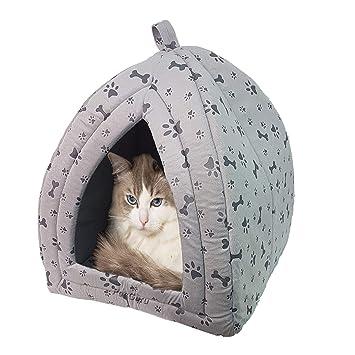 Casa para mascotas Igloo muy cálido aislante acolchado acogedor cueva cama casa perro gato gatito gris, rojo, negro, marrón: Amazon.es: Productos para ...