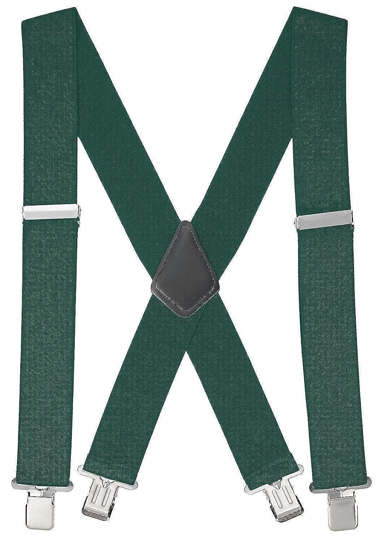 Buyless Fashion Bretelle a X Posteriore da Uomo Regolabili ed Elastiche 1, 2 metri – larghe 5 cm – Ganci Metallici 5116-Navy