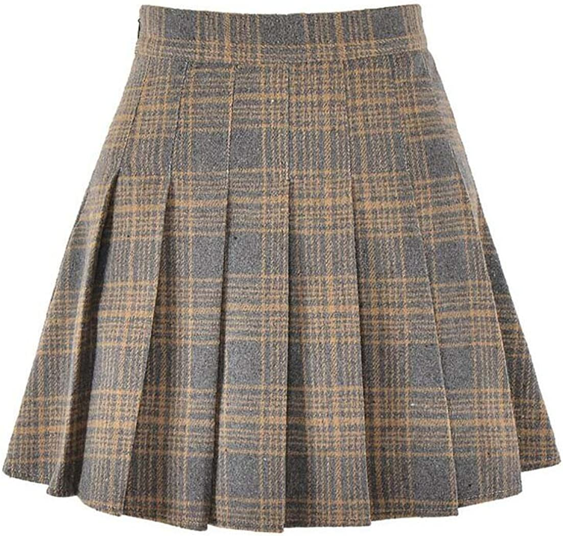 Hoerev Women Girls Versatile Plaid Pleated Skirt with Shorts for Cold Weather