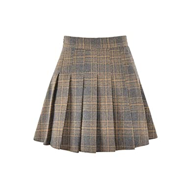 b11adf30bb Hoerev Women Girls Versatile Plaid Pleated Skirt with Shorts for Cold  Weather Brown