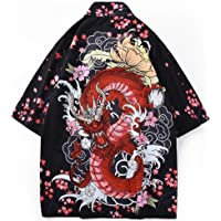 LifeHe Men's Japanese Floral Printed Kimono Cardigan Jackets Top