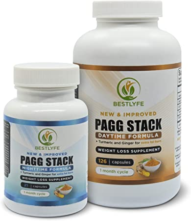 Bestlyfe PAGG Stack - Metabolism Booster for Weight Loss with Turmeric and Ginger for Extra Fat Burn – Keto Friendly Fat Burner Supplement - Promotes Carbohydrate Storage in Muscle as opposed to Fat