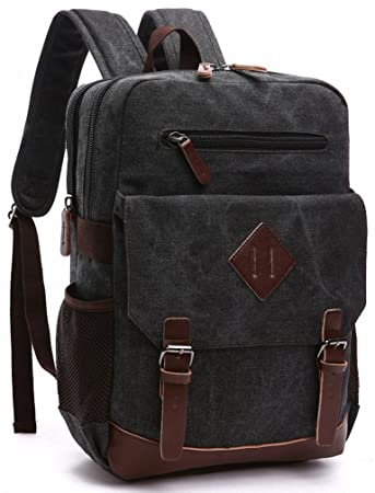 47d941674c51 Amazon.com  Kenox Mens Large Vintage Canvas Backpack School Laptop Bag  Hiking Travel Rucksack (Black)  Kenox Leather