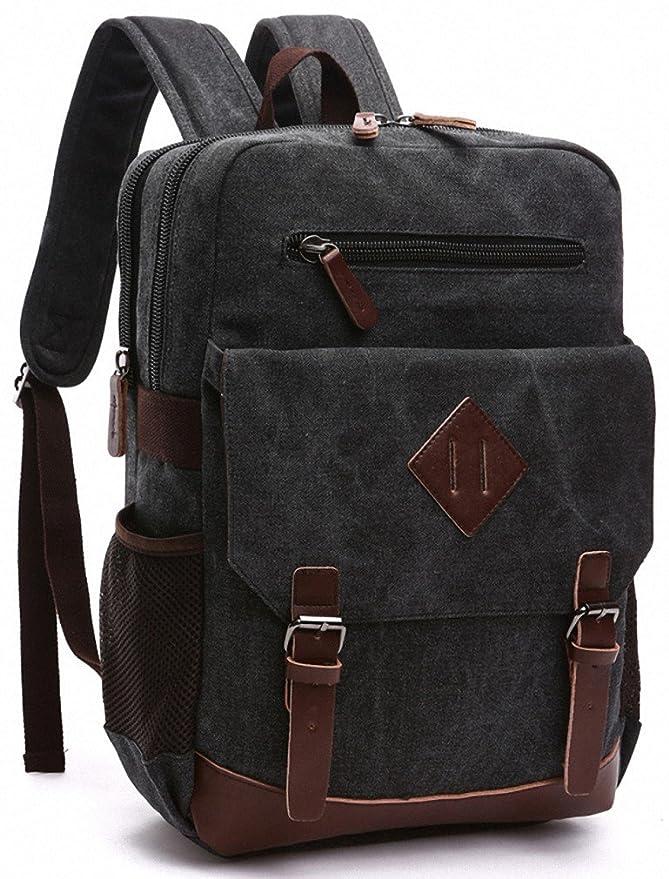 Amazon.com: Kenox Mens Large Vintage Canvas Backpack School Laptop Bag Hiking Travel Rucksack (Black): Kenox Leather